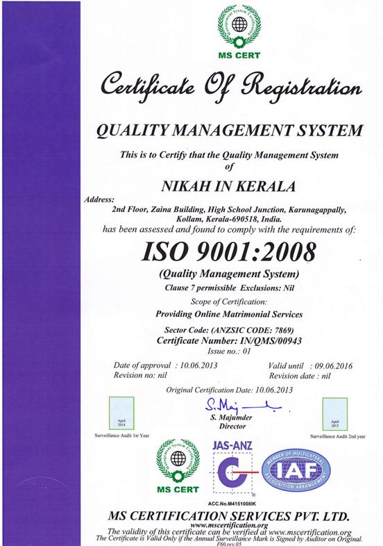 ISO 9001:2008 Certified Muslim Matrimony | Nikah in Kerala